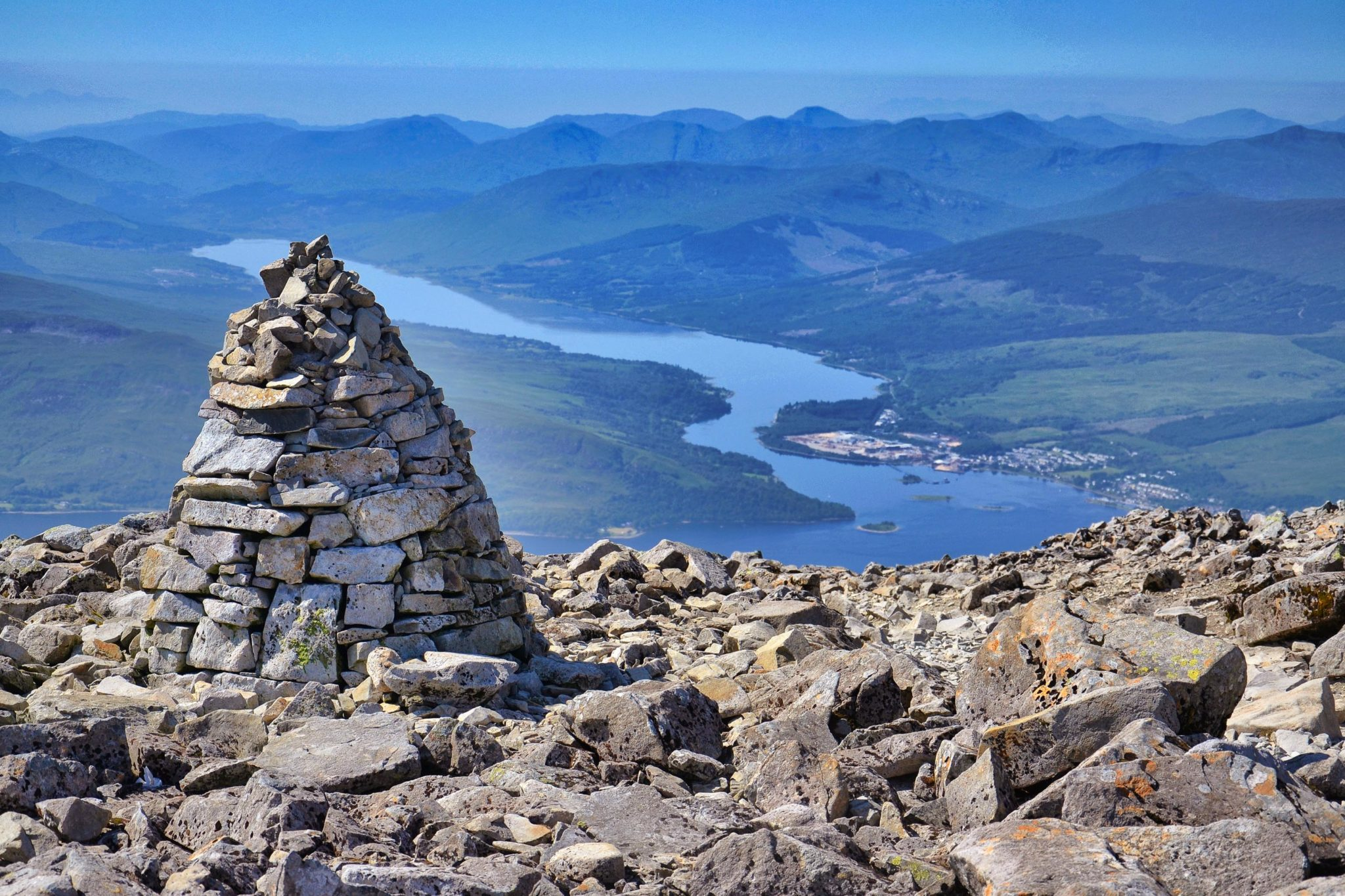 Cairn on eastern edge of summit plateau of Ben Nevis, Guide for Ben Nevis
