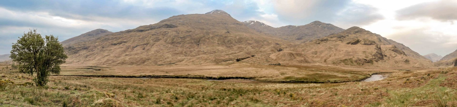 Looking across Glen Pean, towards Sgurr Thuilm, Beinn Gharbh and Meall an Tarchachain, shot by our Ben Nevis Guide