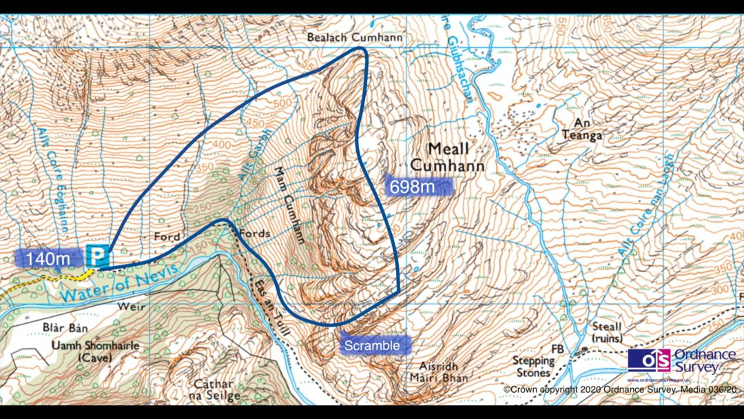 Map of Mull Cumhann Scramble, Ben Nevis